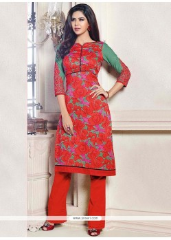 Elite Red Printed Straight Pant Suit