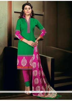 Demure Print Work Green Banglori Silk Churidar Designer Suit