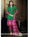 Demure Print Work Green Banglori Silk Churidar Designer Suit