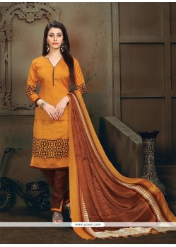 Engrossing Orange Lace Work Banglori Silk Churidar Designer Suit