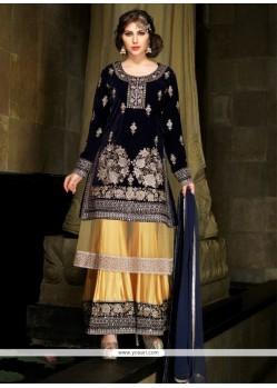 Arresting Blue Embroidered Work Designer Palazzo Salwar Suit