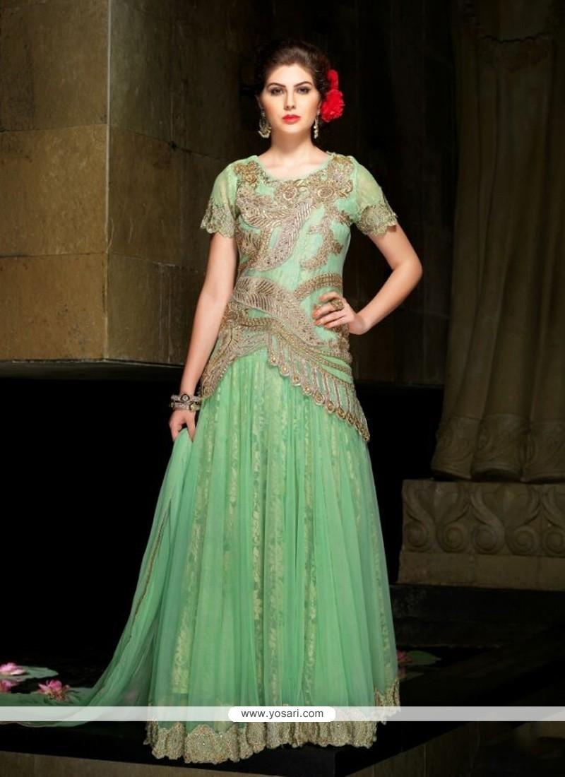 Distinctive Net Sea Green Floor Length Anarkali Suit