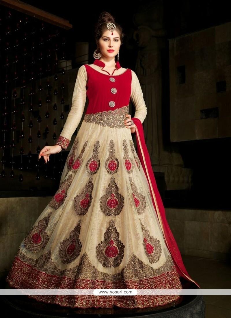 Radiant Net Cream Anarkali Suit