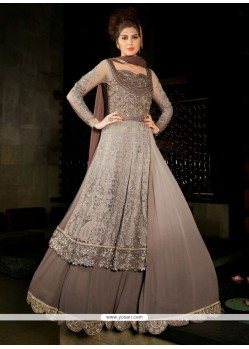 Mesmeric Brown Anarkali Salwar Suit