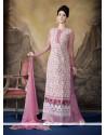 Cherubic Resham Work Pink And White Designer Palazzo Salwar Suit