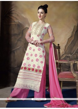 Genius Georgette Pink And White Designer Palazzo Salwar Suit