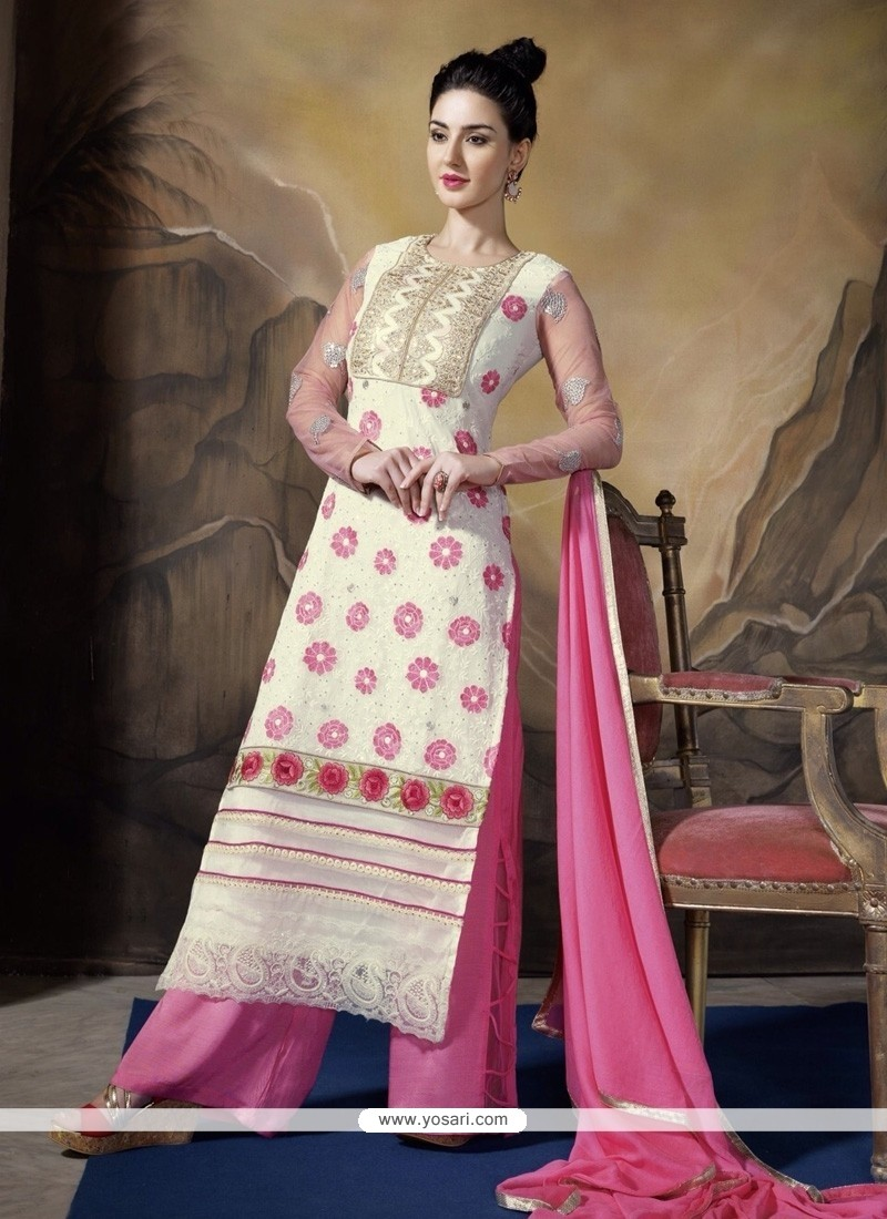 Genius Georgette Pink And White Designer Palazzo Salwar Suit