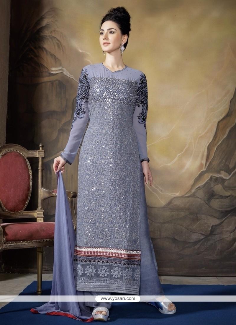 Superb Grey Resham Work Designer Straight Salwar Kameez