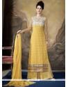 Stylish Yellow Resham Work Designer Palazzo Salwar Suit