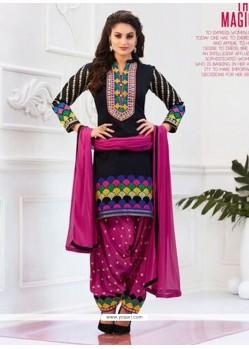Surpassing Cotton Hot Pink And Black Lace Work Designer Patiala Salwar Kameez