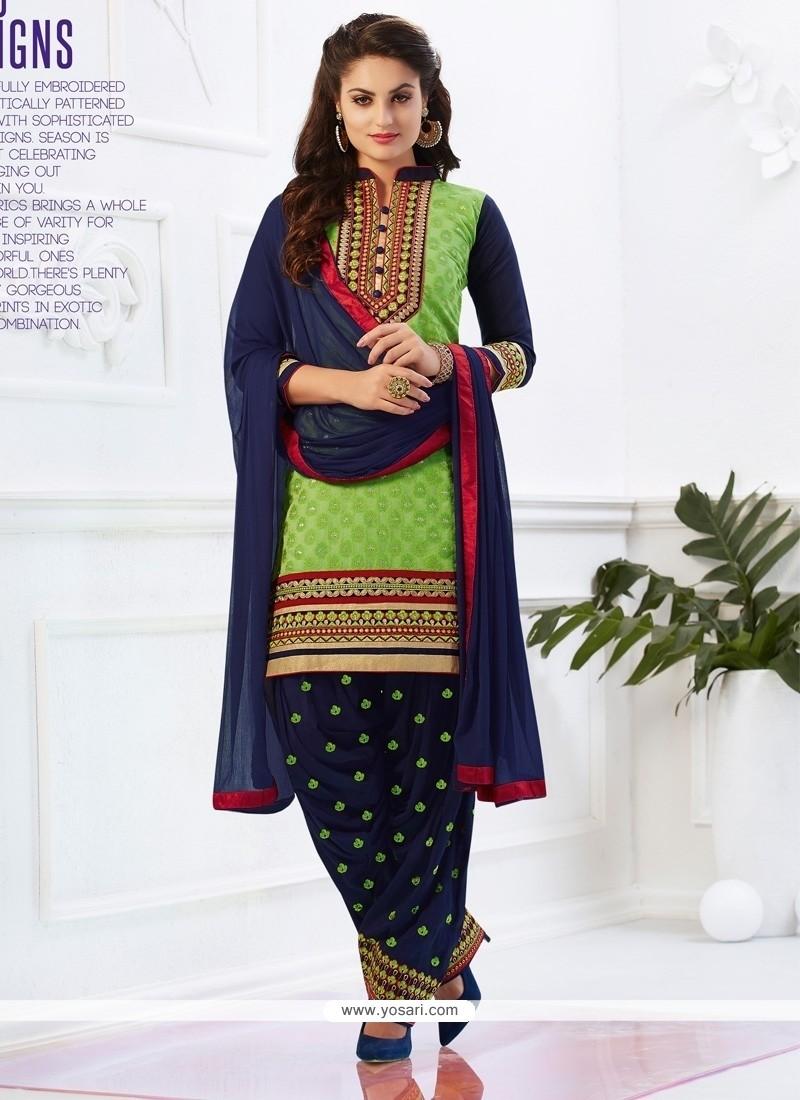 Energetic Green Embroidered Work Cotton Designer Patiala Salwar Kameez