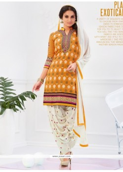Congenial Yellow Embroidered Work Cotton Designer Patiala Salwar Kameez