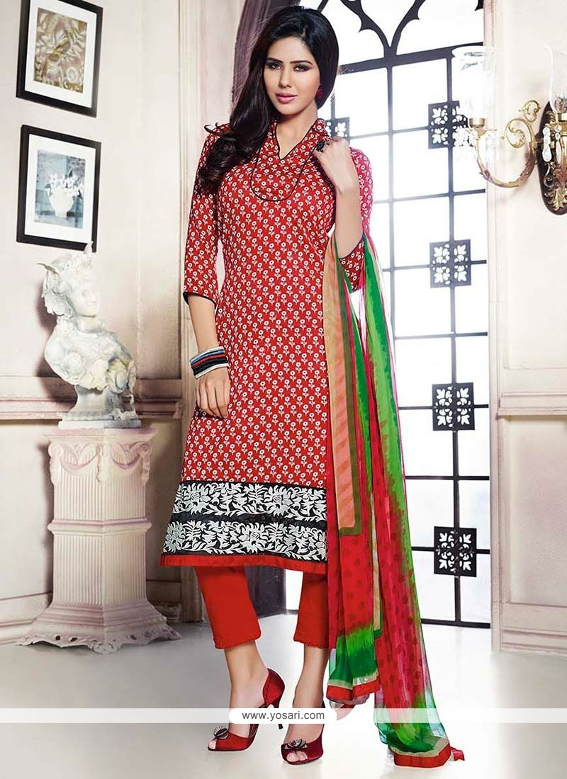 Baronial Red Pashmina Straight Pant Suit