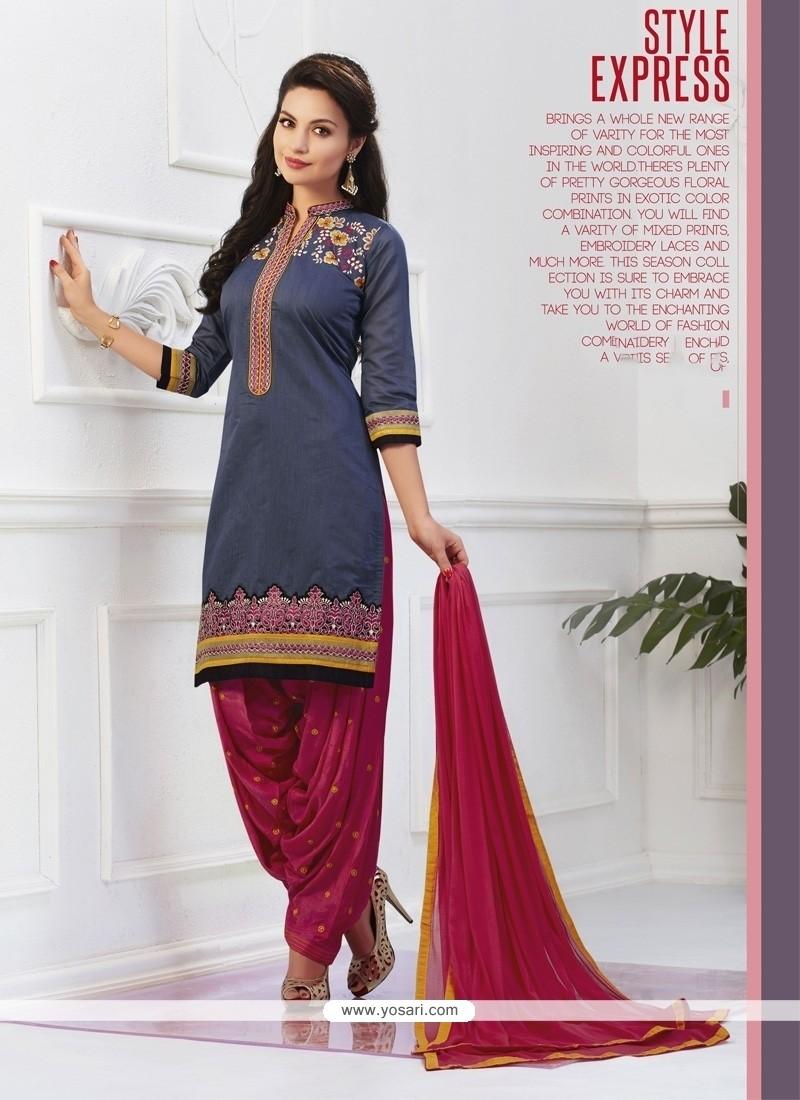 Luscious Embroidered Work Grey Cotton Designer Patiala Salwar Kameez