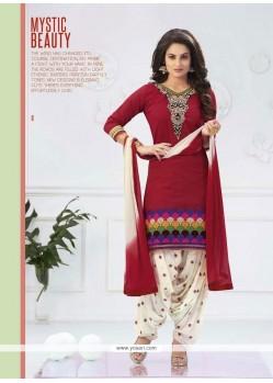 Luxurious Lace Work Cream And Red Cotton Designer Patiala Salwar Kameez