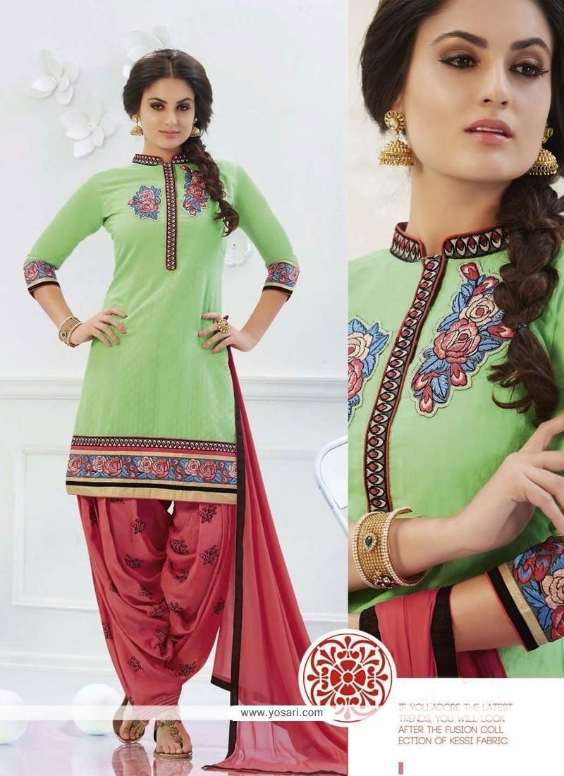 Fetching Green Cotton Designer Patiala Salwar Kameez