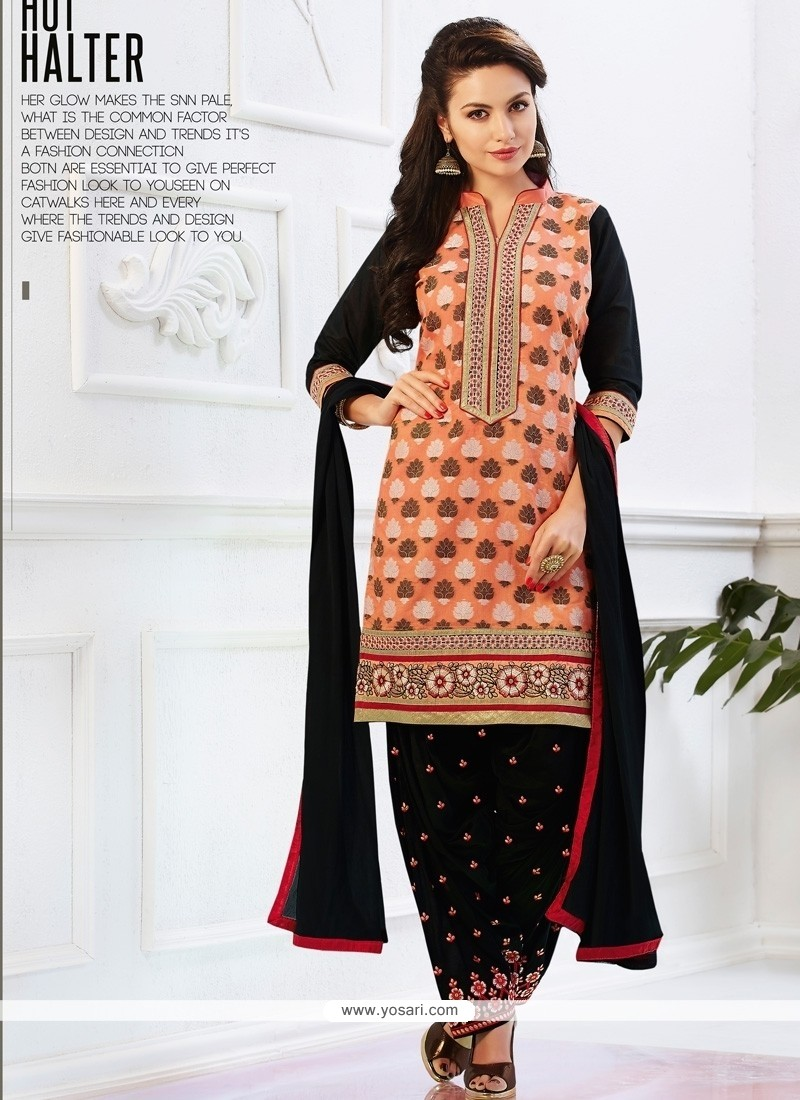 Whimsical Cotton Peach And Black Lace Work Designer Patiala Salwar Kameez