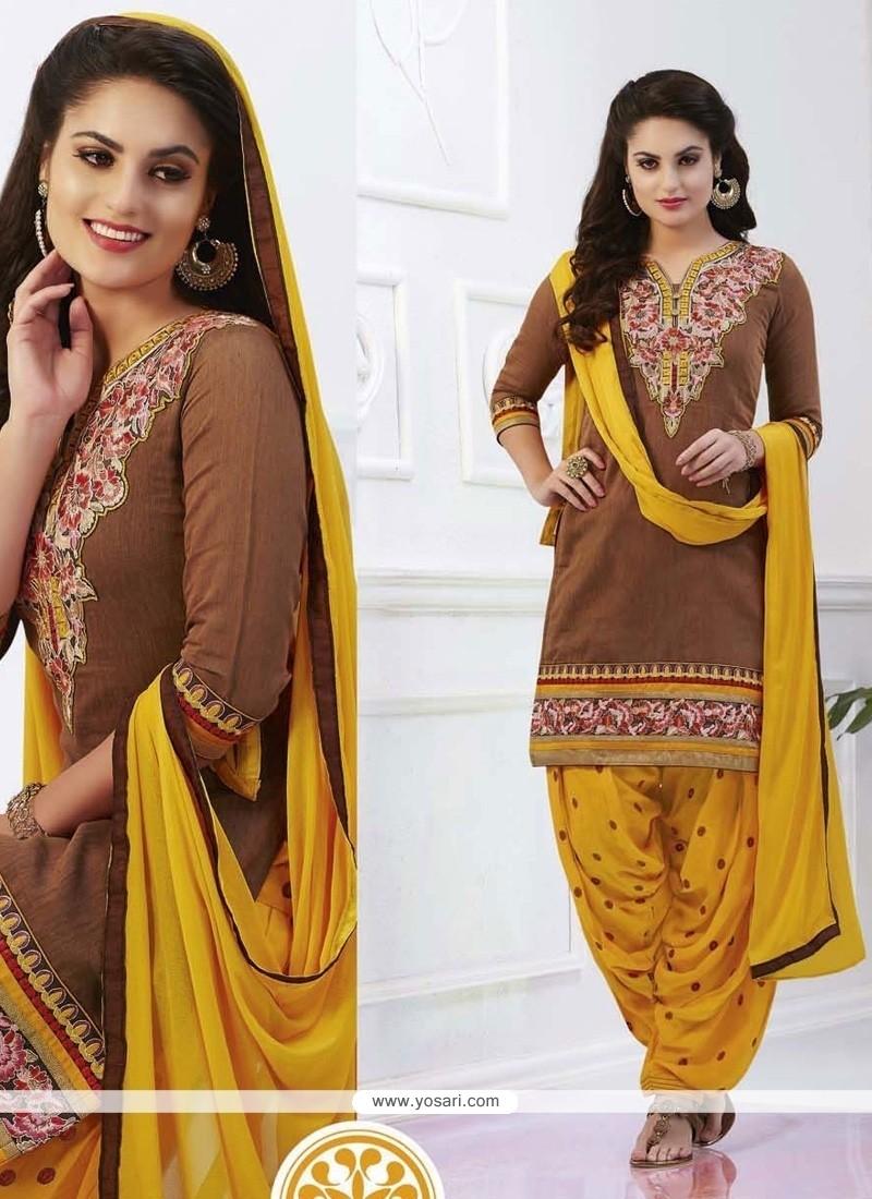 Glamorous Embroidered Work Yellow Designer Patiala Salwar Kameez
