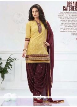 Magnificent Cotton Lace Work Designer Patiala Salwar Kameez