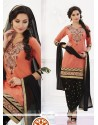 Best Peach And Black Cotton Designer Patiala Salwar Kameez