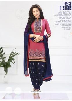 Compelling Navy Blue And Pink Lace Work Cotton Designer Patiala Salwar Kameez