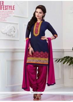 Affectionate Blue Lace Work Designer Patiala Salwar Kameez