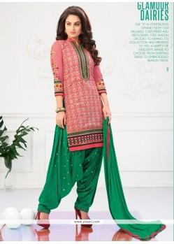 Amusing Lace Work Green And Pink Cotton Designer Patiala Salwar Kameez