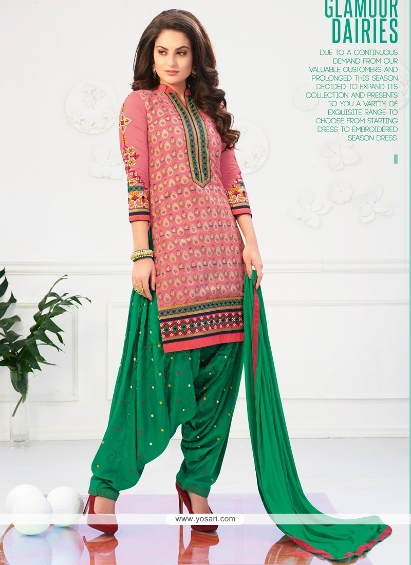 03a4ba47e Shop online Amusing Lace Work Green and Pink Cotton Designer Patiala ...
