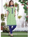 Remarkable Embroidered Work Chanderi Green Churidar Suit