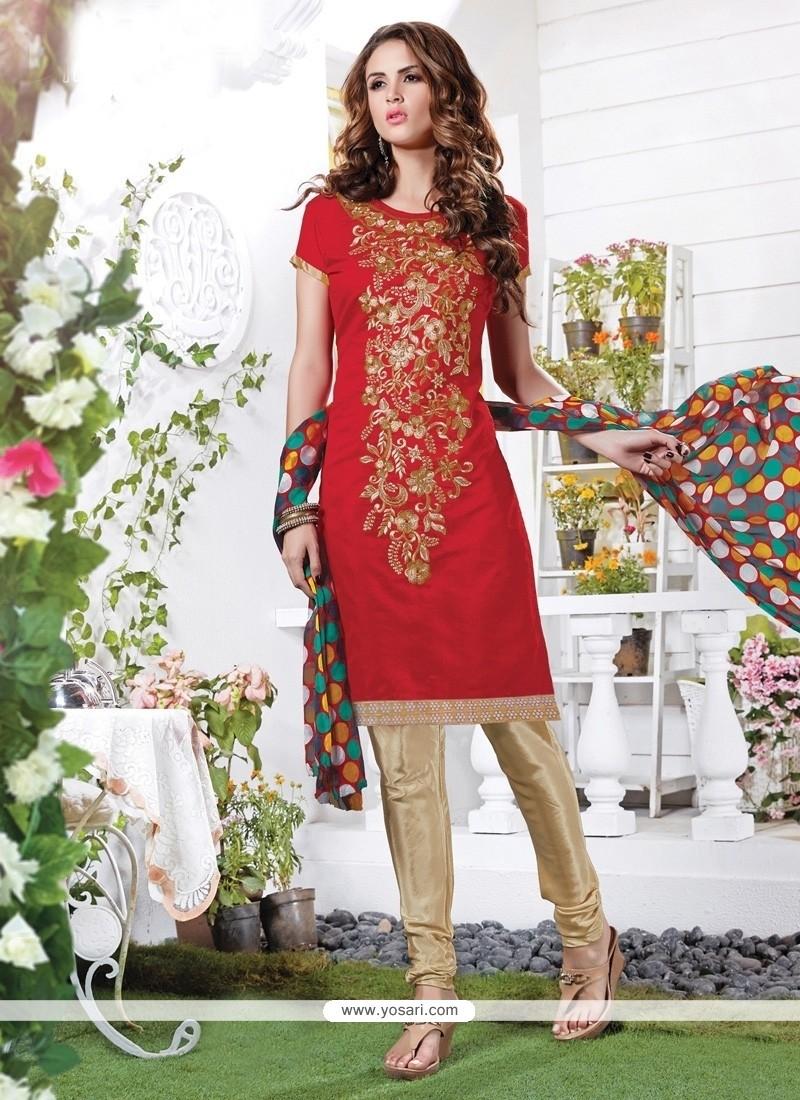 Prepossessing Chanderi Churidar Suit