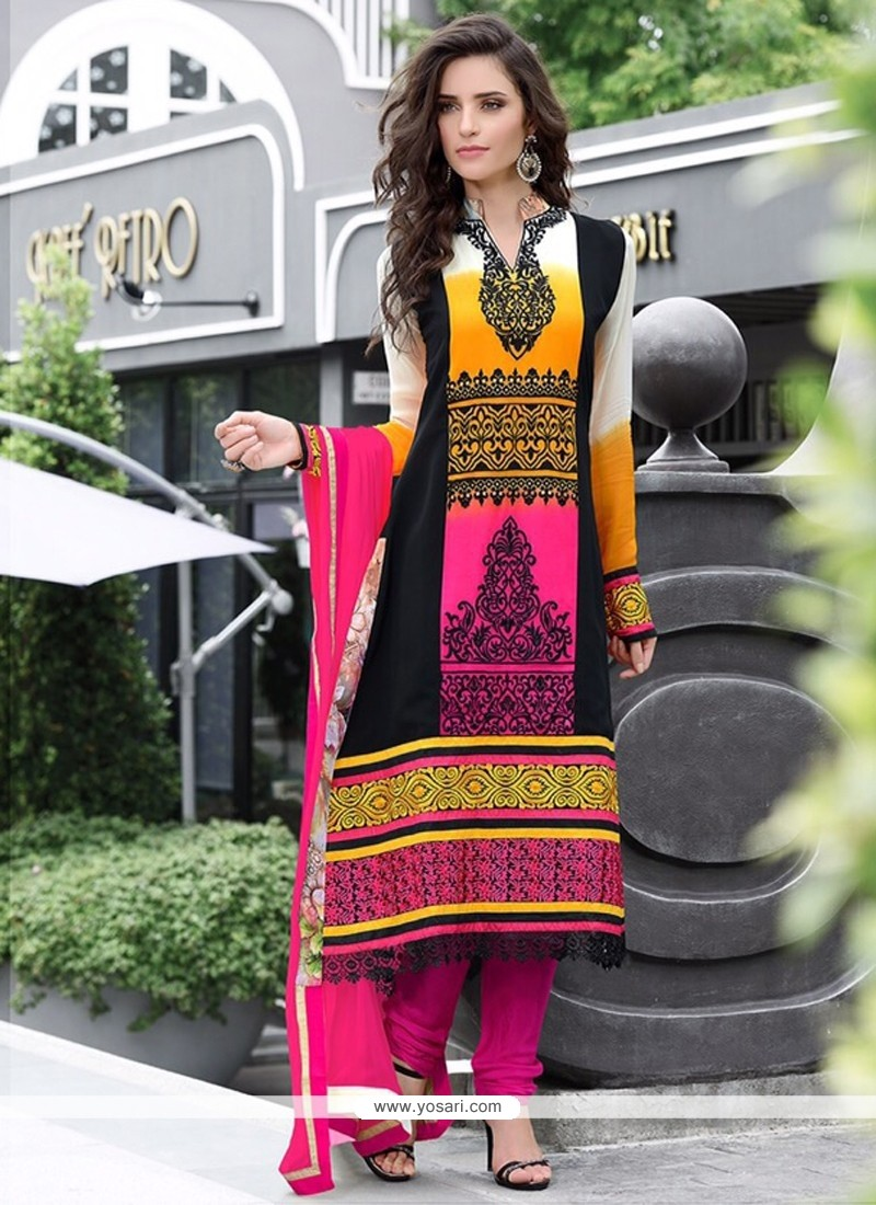 Multicolor Pure Georgette Churidar Suit