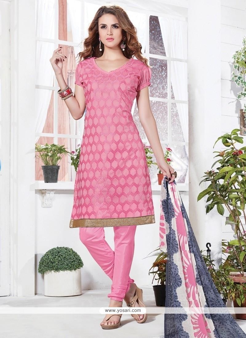 Mesmeric Embroidered Work Chanderi Pink Churidar Suit