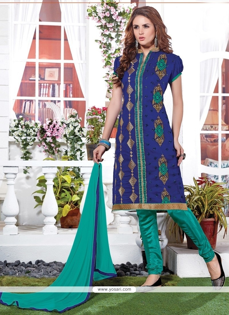 Alluring Embroidered Work Churidar Suit