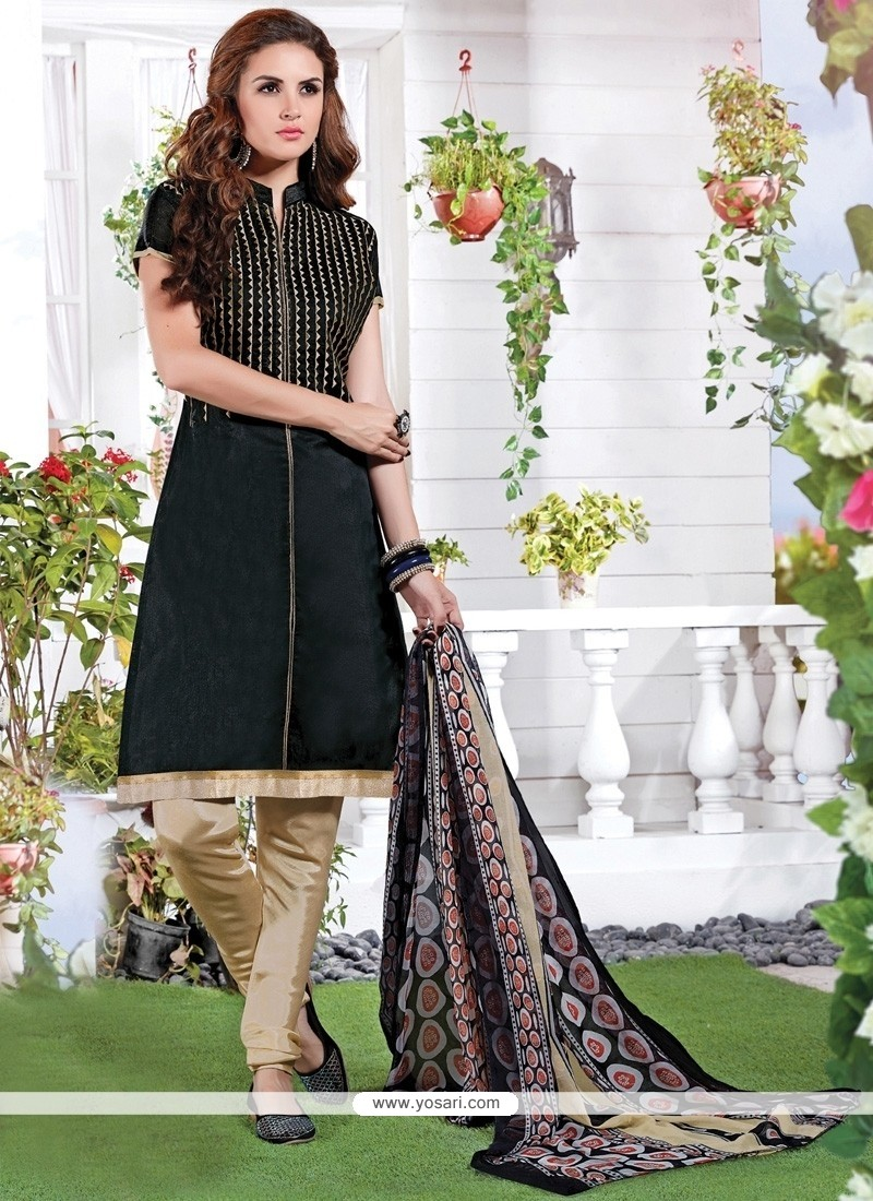 Excellent Black Chanderi Churidar Suit