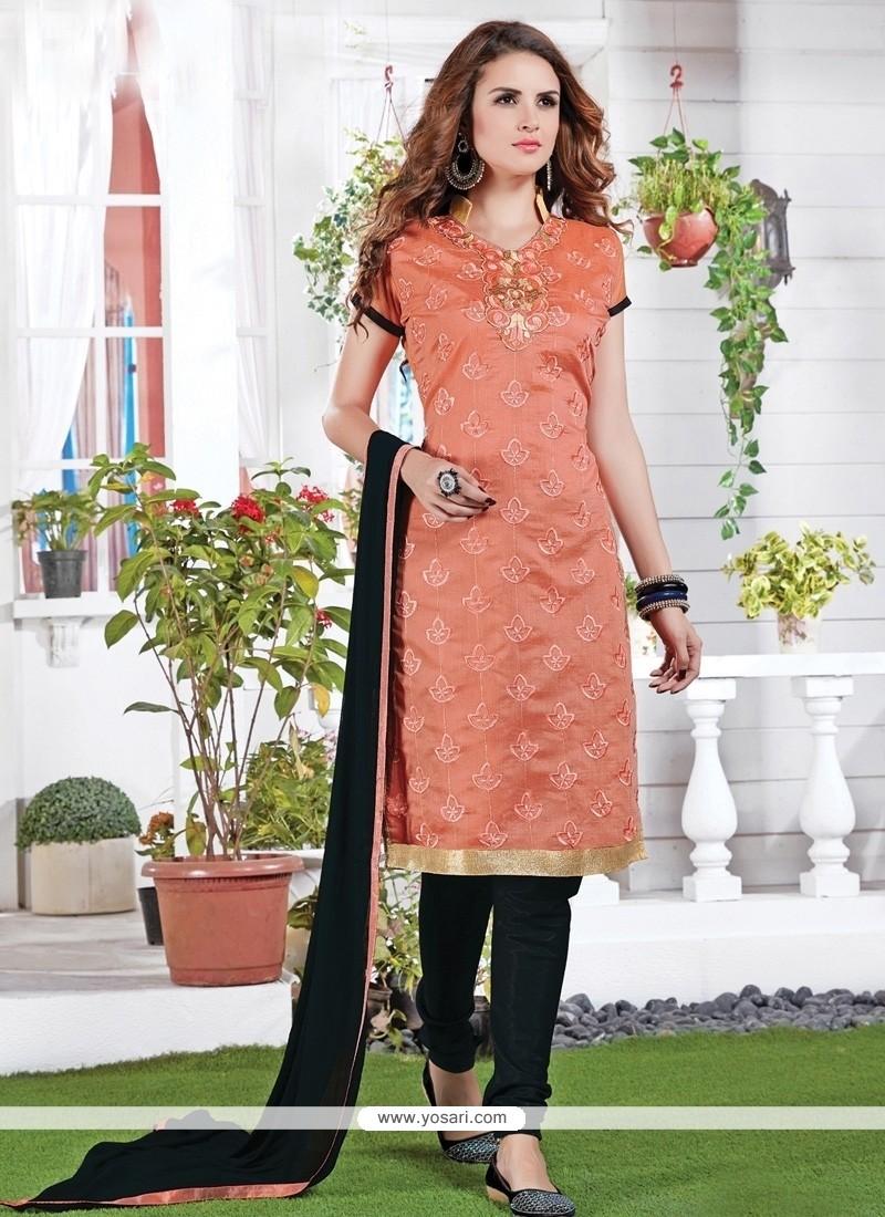 Princely Chanderi Orange Embroidered Work Churidar Suit
