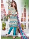 Cherubic Embroidered Work Blue Chanderi Churidar Suit