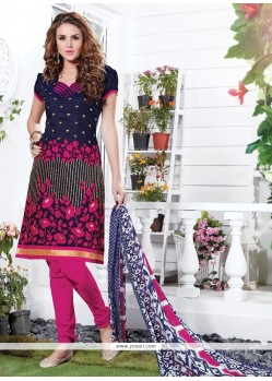 Especial Embroidered Work Navy Blue Churidar Suit