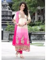 Pink And Cream Pure Georgette Churidar Suit
