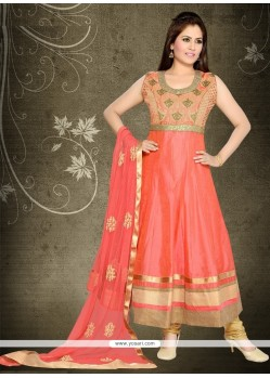 Peach Chanderi Anarkali Salwar Suit