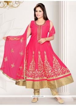 Delightful Hot Pink Resham Work Anarkali Salwar Suit