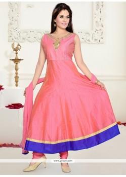 Prepossessing Embroidered Work Chanderi Hot Pink Anarkali Salwar Kameez