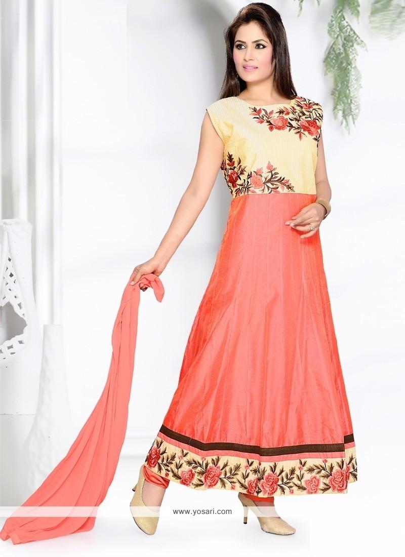 Magnetize Resham Work Chanderi Peach Anarkali Salwar Suit