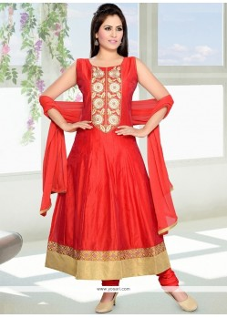 Scintillating Lace Work Anarkali Suit