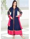 Charming Blue Chanderi Anarkali Salwar Suit
