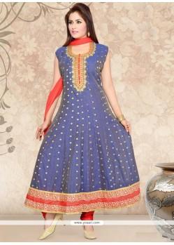 Flawless Chanderi Grey Resham Work Anarkali Salwar Kameez