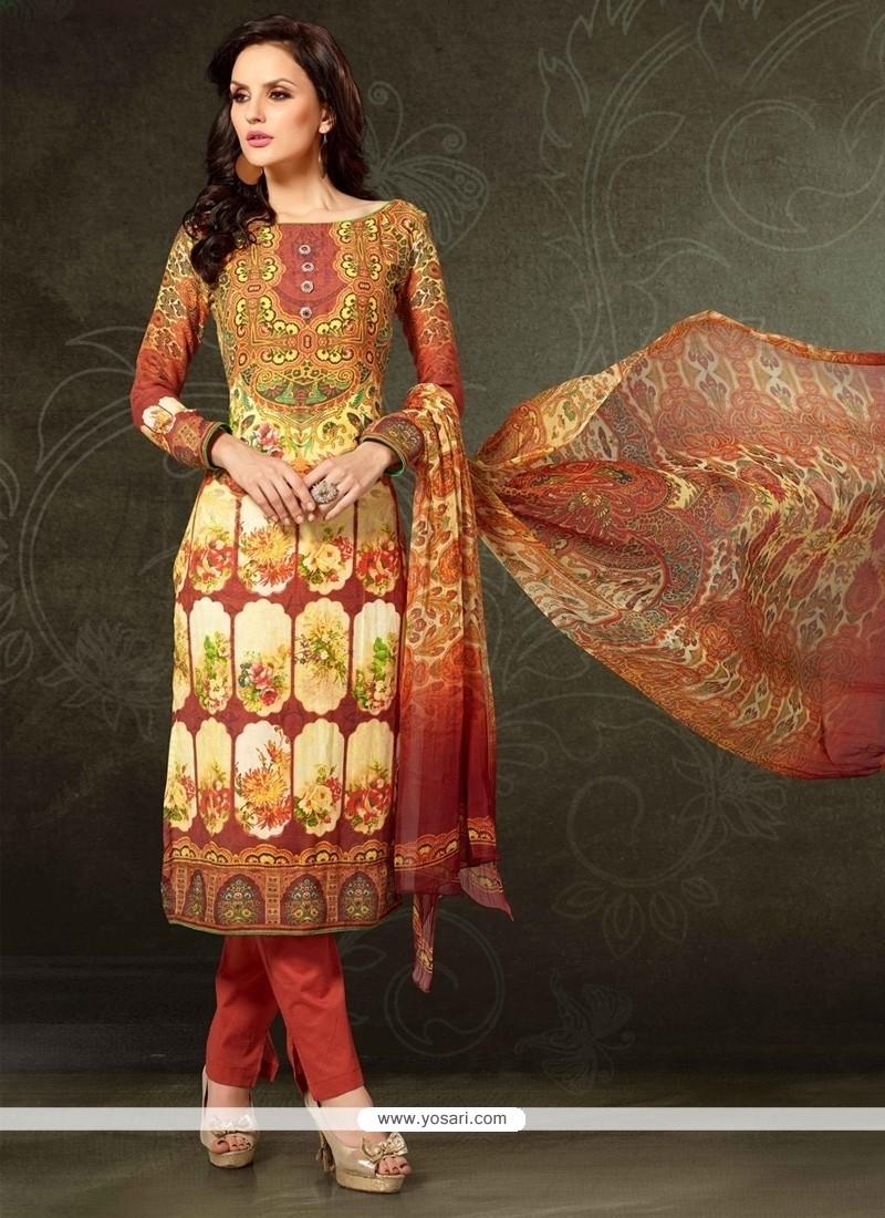 Unique Pashmina Multi Colour Digital Print Work Designer Straight Salwar Kameez
