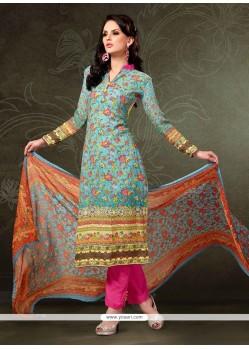 Dazzling Pashmina Digital Print Work Designer Straight Salwar Suit