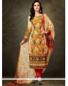 Pleasing Pashmina Digital Print Work Designer Straight Salwar Kameez
