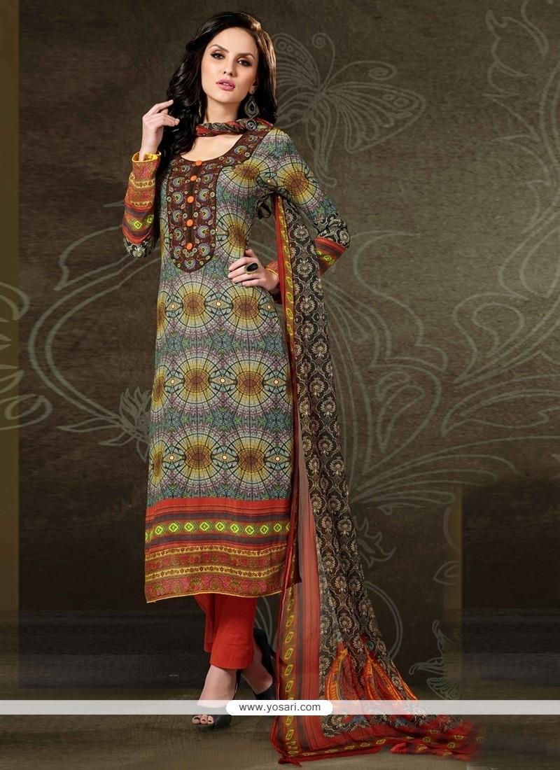 Eye-catchy Digital Print Work Multi Colour Pashmina Designer Straight Salwar Kameez