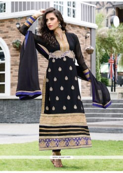 Baronial Black Embroidery Churidar Salwar Suit